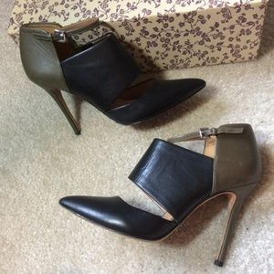 Coach Shoes - COACH Green Black Leather Pointed Ankle Heels